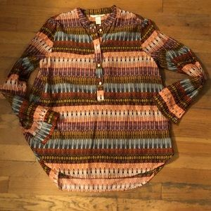 H&M POPOVER TUNIC BLOUSE 10 TRIBAL